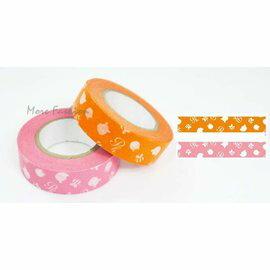 日本正版進口 日本製和紙膠帶_Disney迪士尼系列 Winnie小熊維尼(2個一組)橘色X粉紅
