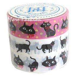 日潮夯店 日本正版 Prime Nakamura 塑膠 PP 膠帶  三捲一組 裝飾 花邊_黑貓 貓咪 款