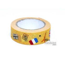 日本正版進口 法國風情 巴黎鐵塔 凱旋門 紙膠帶 15mm*15m 裝飾貼紙/包裝紙膠帶
