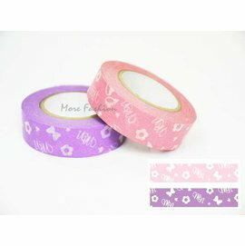日本正版進口 日本製和紙膠帶_Disney迪士尼  Minnie米妮系列(2個一組)粉紅X紫