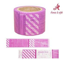 日潮夯店 日本正版 Aimez le style 3.8cm 粗 紙膠帶 Ticket 紫色回憶票根 款