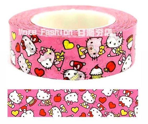 日潮夯店 日本正版 Hello Kitty 凱蒂貓 粉紅 蛋糕點心 1.5cm 紙膠帶 花邊帶 裝飾