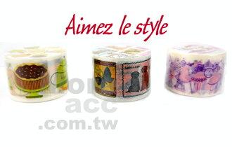 [日潮夯店] 日本正版進口 Aimez le style 3.8cm粗 紙膠帶 食物 馬戲團夢 動物郵票款
