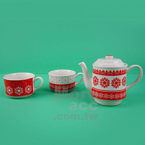 [日潮夯店] 日本正版進口 紅白 雪花 陶瓷 對杯 杯壺組 一壺兩杯入 附濾網