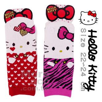 [日潮夯店] 日本正版進口 三麗鷗 Sanrio 凱蒂貓 Hello Kitty 立體 耳朵 小手 短襪 襪子 22~24cm