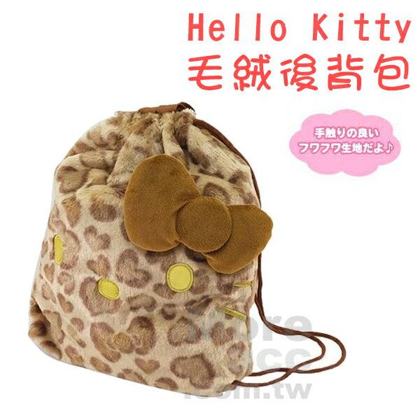 [日潮夯店] 日本正版進口 Sanrio 三麗鷗 Hello Kitty 凱蒂貓 豹紋 毛絨 縮口 束口 後背包