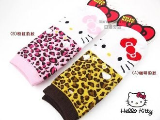 日潮夯店 日本正版Hello Kitty 凱蒂貓 豹紋 立體 耳朵 造型 大人可穿 船形 襪子 短 襪子23~25cm