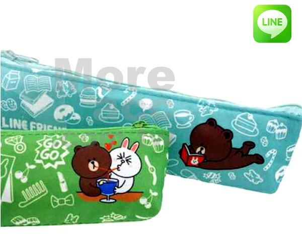 [日潮夯店] 日本正版進口 Line APP系列 熊大 兔兔 筆袋 筆盒 綠色 淺綠色
