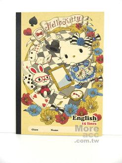 日本正版進口 Hello Kitty凱蒂貓 愛麗絲 筆記本 英文學習筆記本