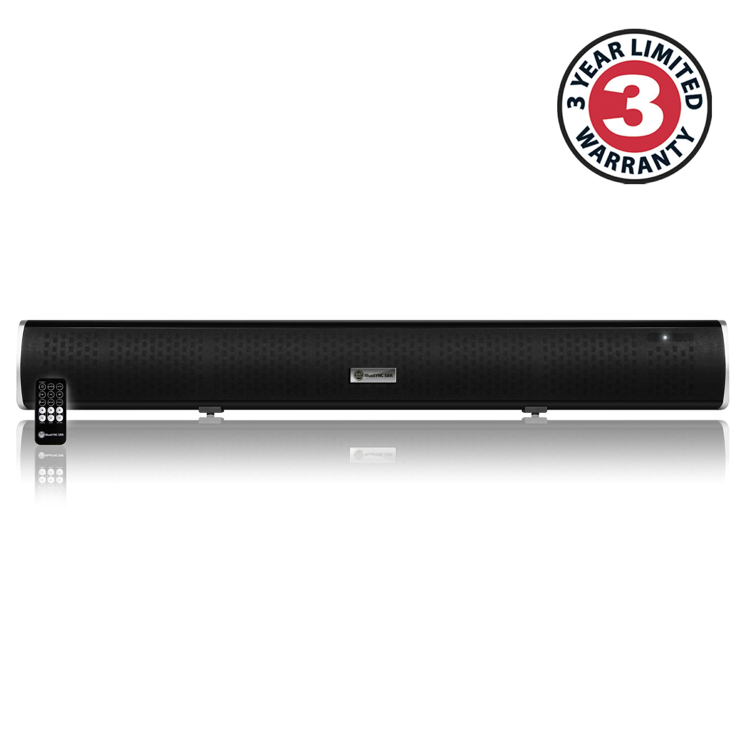 GOgroove Bluetooth Ultra Slim Sound Bar Speaker System w/ Wall Mounting Kit, Optical / Analog Inputs 1