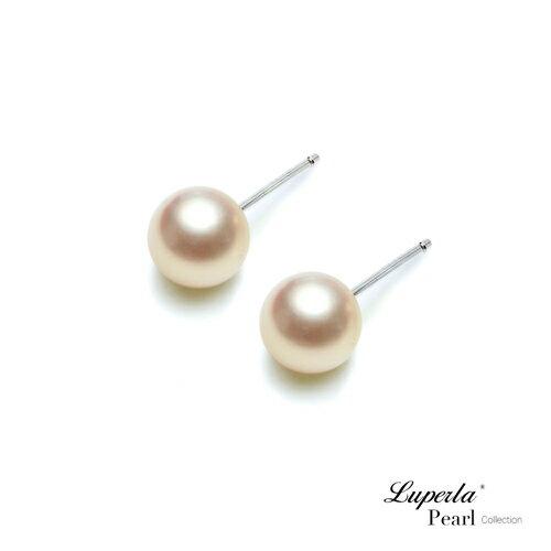 大東山珠寶粉嫩春櫻天然淡水正圓珍珠純銀耳環
