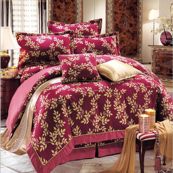 床罩組PIMA匹馬棉雙人400織七件式兩用被加大床罩組梅維斯紅[鴻宇]台灣製2055