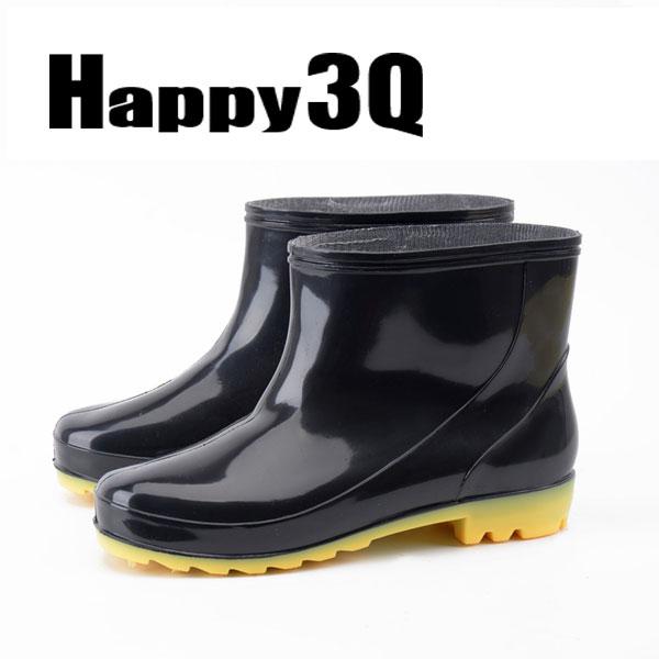 繽紛多色防滑橡膠短筒雨靴工作男鞋-黑40-44【AAA0116】