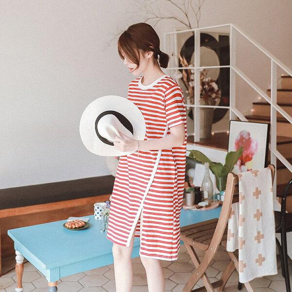 立領花片斜開叉條紋連身裙渡假洋裝【91-16-83304-18】ibella艾貝拉