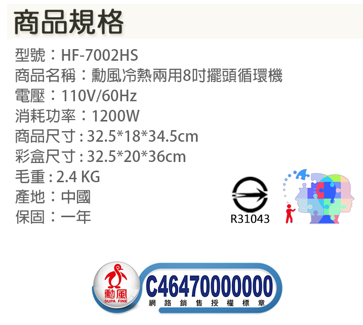 【尋寶趣】勳風 8吋擺頭循環機 調整角度 風扇 桌扇 桌地扇 家用電暖器 速暖爐 暖爐 季節家電 HF-7002HS 4