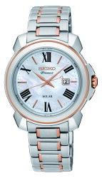 SEIKO 精工 Premier 羅馬太陽能女錶 珍珠貝 雙色 V137-0CT0KS(SUT322J1) 32mm