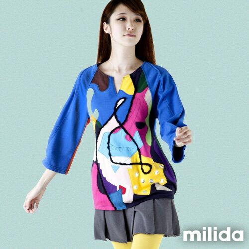 【Milida,全店七折免運】-秋冬單品-T恤款-甜美拼貼款 4