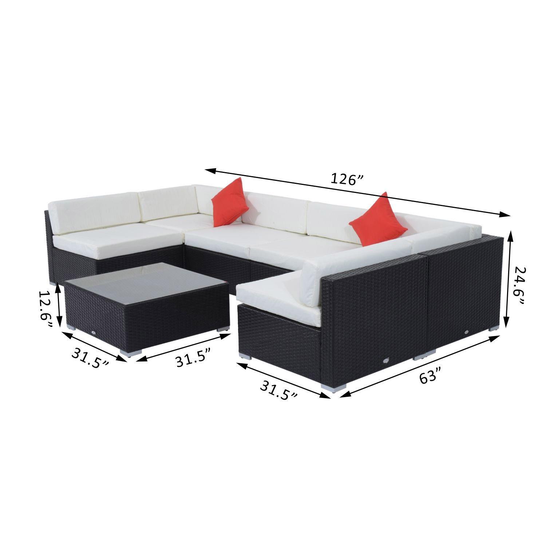 Outsunny 7 Piece Outdoor Patio Rattan Wicker Sofa Sectional Set - Cream 3