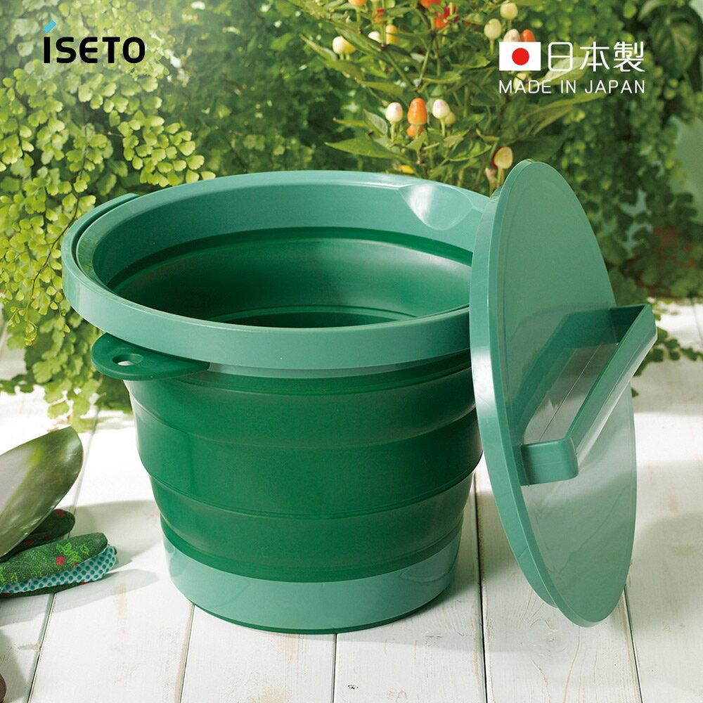 【日本ISETO】日製伸縮折疊式防滑水桶(附蓋子)-8L