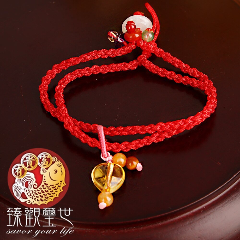 心型黃水晶手工編織紅繩手鍊 含開光 臻觀璽世 IS4361