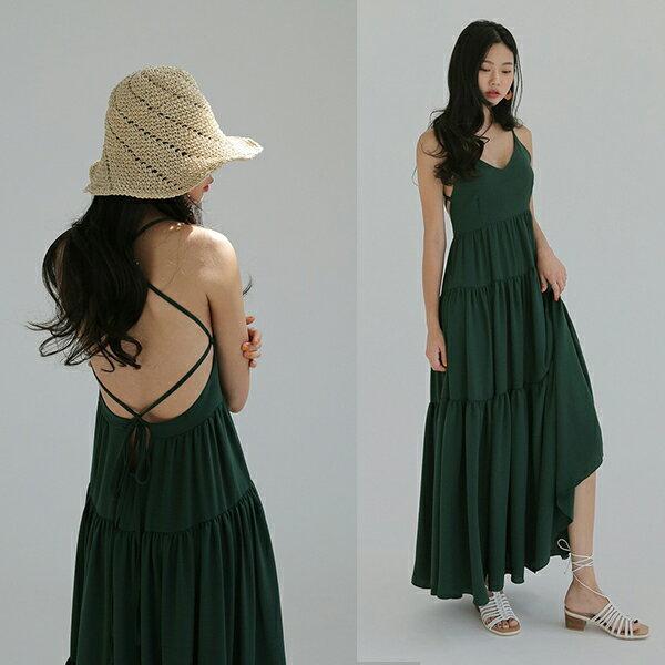 PS Mall 熱情傘擺露背連身裙 細帶拼接長版洋裝【T540】 1