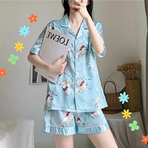 短褲兩件套睡衣家居服套裝(2色F碼)【OREAD】 0