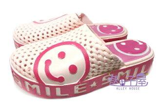 【巷子屋】女款微笑臉娃娃厚底懶人鞋 拖鞋 粉色 超值價$198