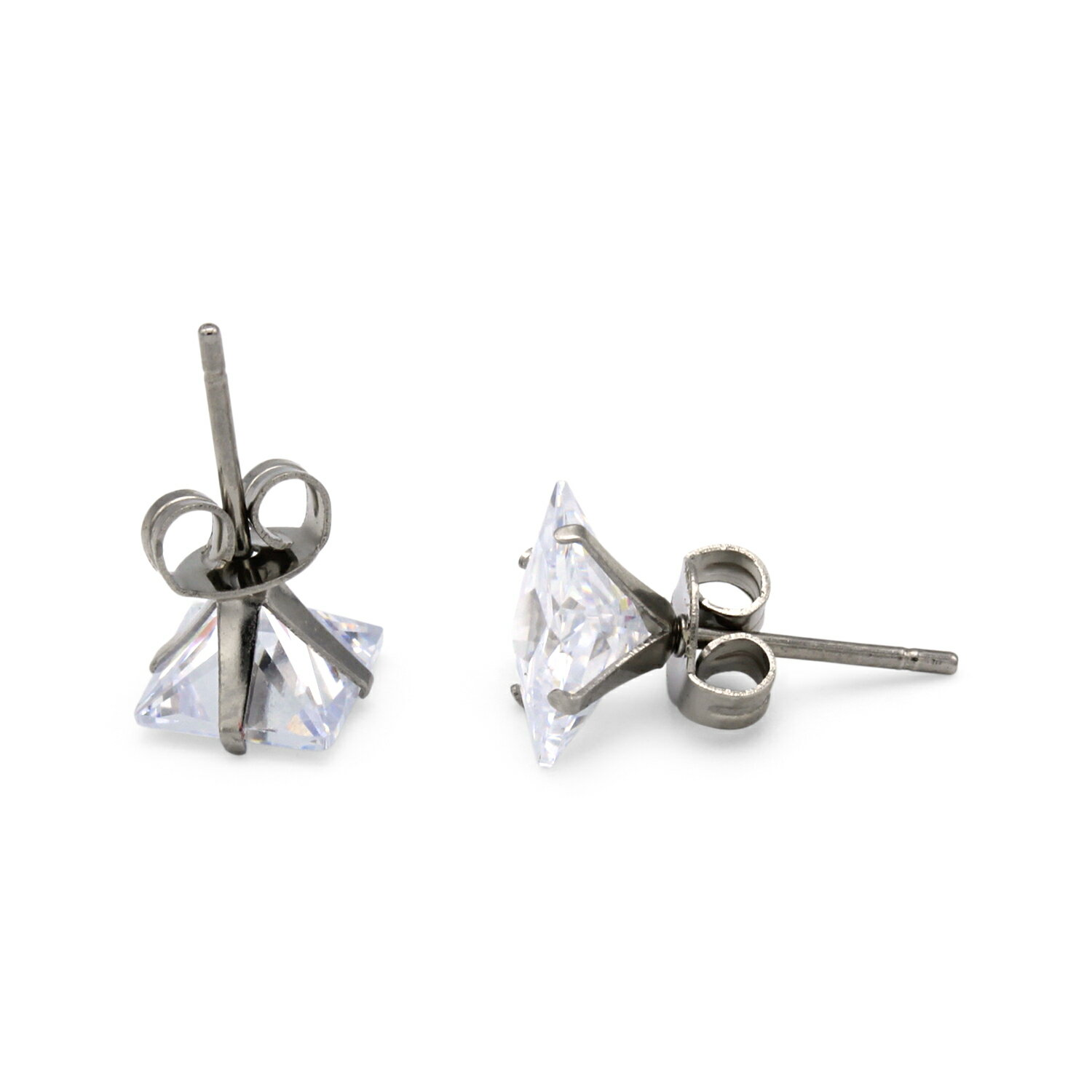 df66a04f7fd7 Silver Cubic Zirconia Unisex Stud Earrings Stainless Steel Jewelry  Collection Square Studs 3-10 mm