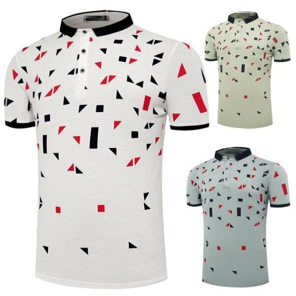 FINDSENSEZ1日系流行男時尚大碼立領三角型方型碎花短袖T恤短袖POLO衫特色短T