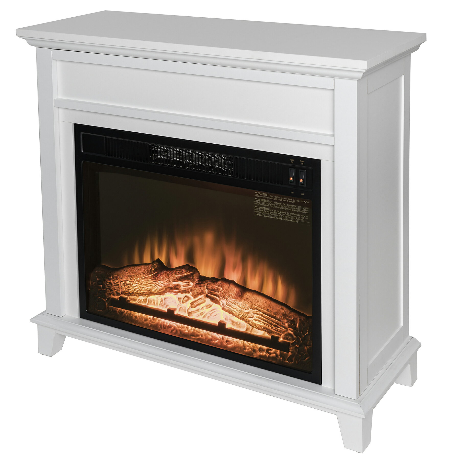 "AKDY 32"" Freestanding White Wooden Mantel Log Bed Electric Fireplace Heater 2"
