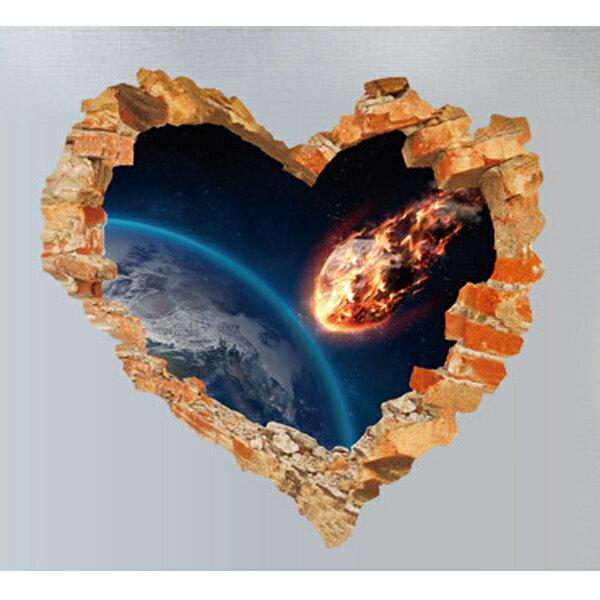 BO雜貨【YV4209-1】新款壁貼創意破洞太空星球宇宙隕石3D愛心破裂SK63001