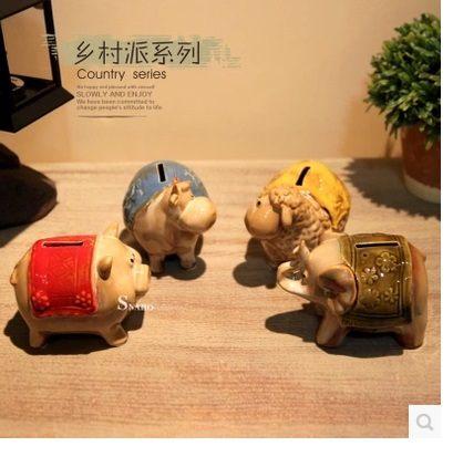 小豬牛羊象四款小動物存錢罐(一個價)(圖一)