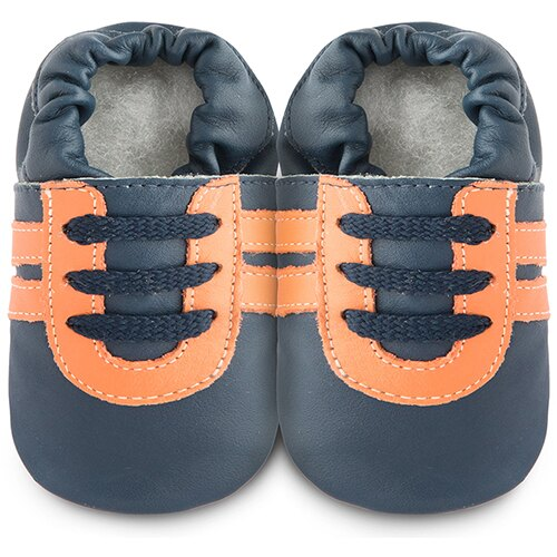 【hella 媽咪寶貝】英國 shooshoos 安全無毒真皮手工鞋/學步鞋/嬰兒鞋 黑橘運動型 101067 (公司貨)