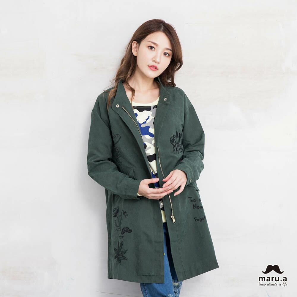 【marua】軍綠印花外套