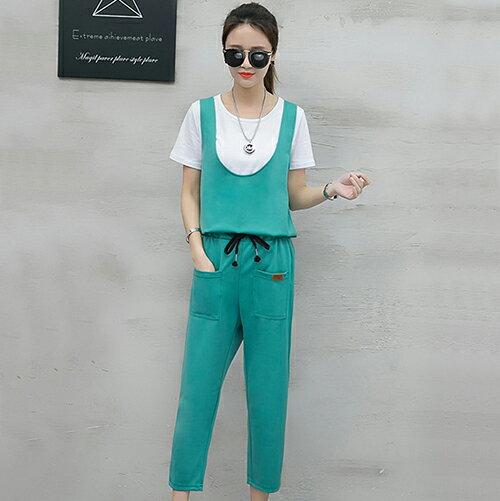 T恤+背帶七分褲兩件套(4色S~2XL)【OREAD】 1