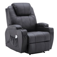 Power Recliner Massage Ergonomic Sofa Vibrating Heated Lounge Chair Faux Leather Dual Cup Holders 7050