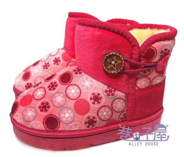 【巷子屋】女童款普普風側釦溫暖雪靴 [8015] 桃粉 超值價$250