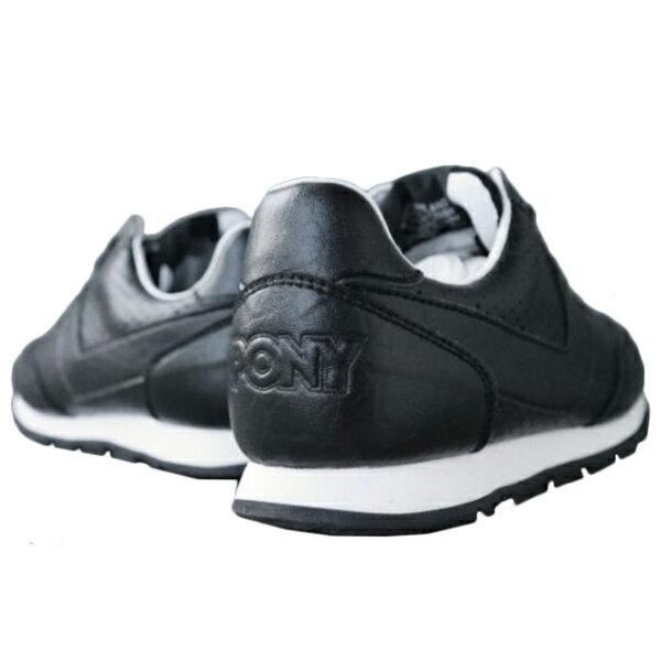 《限時特價799元》 Shoestw【63W1SO68BK】PONY 復古慢跑鞋 休閒鞋 皮革 洞洞 黑色 女款 1