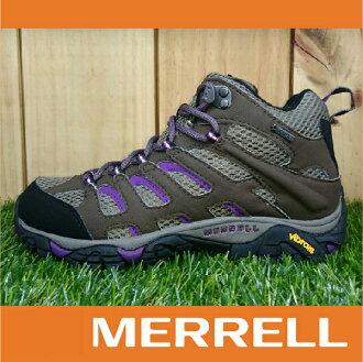 【出清7折!】萬特戶外運動 MERRELL MOAB MID GORE-TEX防水 女款高筒登山健行鞋 黃金大底 紫色