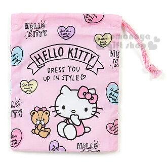〔小禮堂〕Hello Kitty 日製束口袋《粉.側坐.小熊.愛心》牙刷杯用
