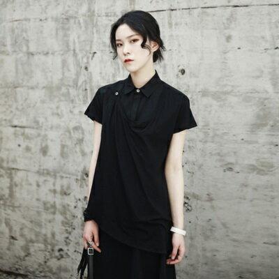 短袖襯衫中長款-假兩件斜下擺個性有型女上衣2色73sl15【獨家進口】【米蘭精品】