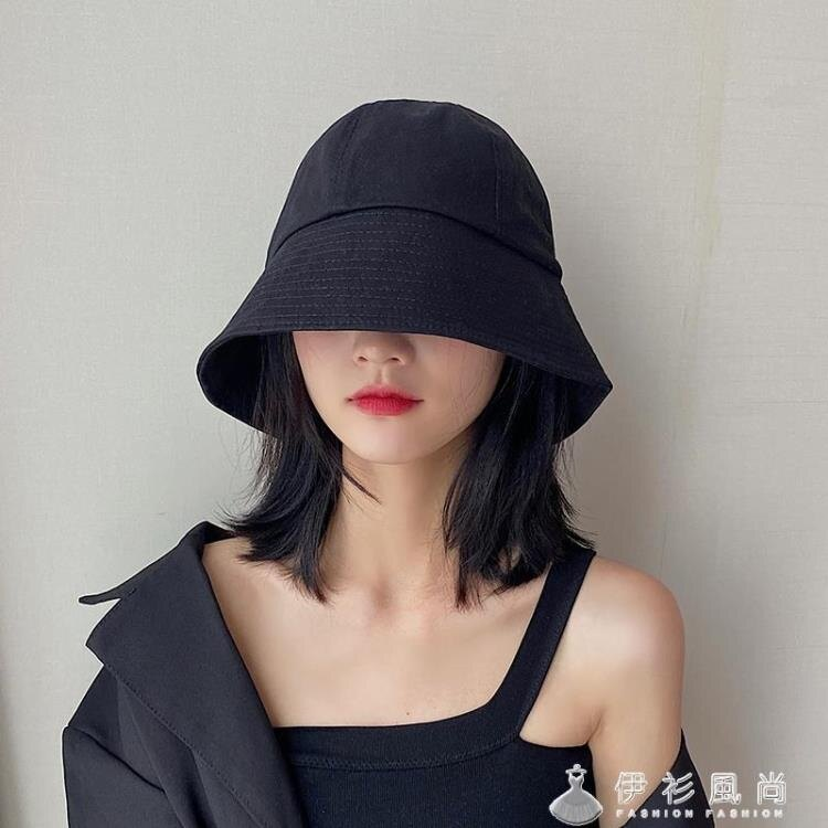 漁夫帽女夏季薄款黑色防曬帽韓版百搭日系水桶帽子潮遮臉遮陽盆帽