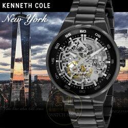 Kenneth Cole國際品牌低調型男鏤空機械腕錶 IKC9343公司貨/設計師/禮物/精品