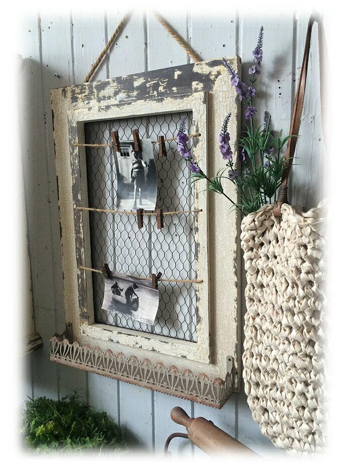 復古做舊木制照片墻留言板置物籃墻飾法式鄉村1入