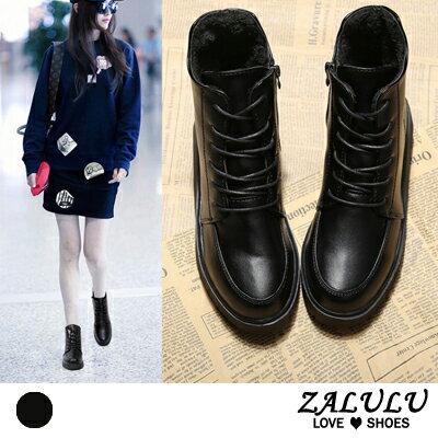 ZALULU愛鞋館:ZALULU愛鞋館KE016預購雜誌同款素面內增高絨毛內裡平底短靴-偏小-黑-36-40