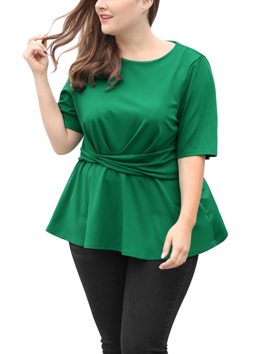 57b710ffb0d Unique Bargains Women s Plus Size Knot Front Short Sleeves Peplum Top Green  (Size 2X)