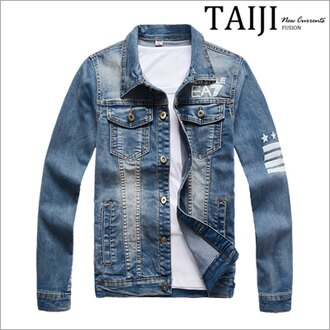 牛仔外套‧EA7印花刷白多口袋設計牛仔外套‧一色【ND90017】-TAIJI