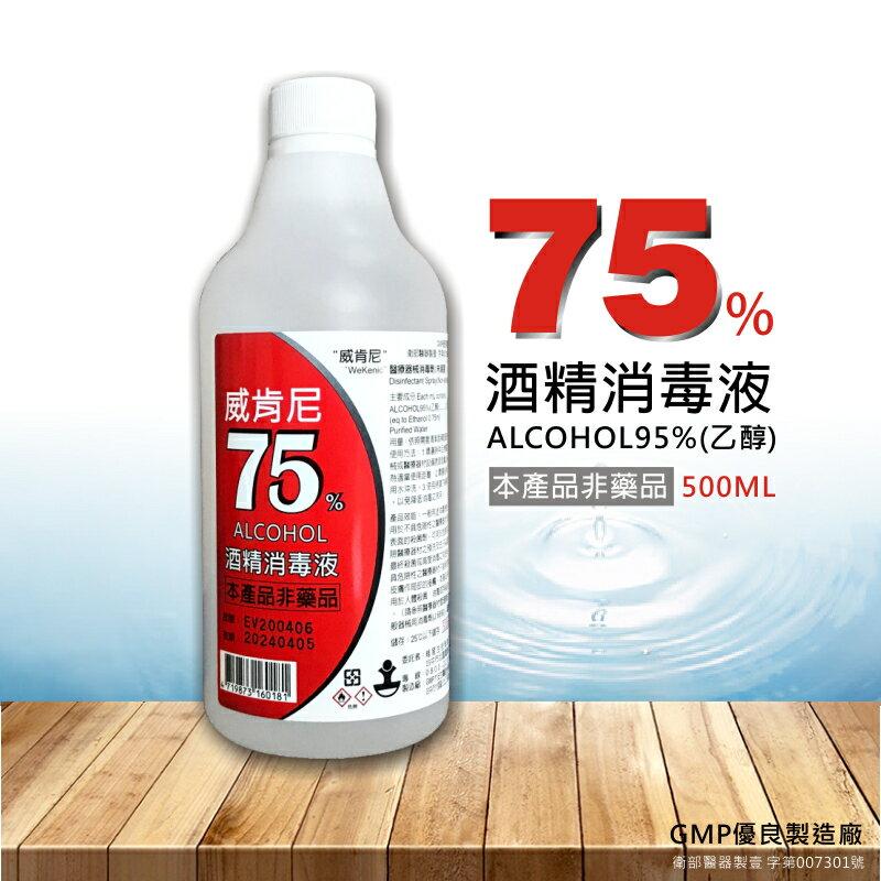 威肯尼 75%酒精消毒液 乾洗手 500ml 加贈噴頭 非藥品 現貨 0