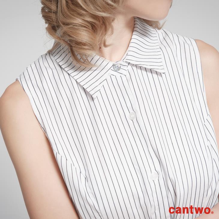 cantow襯衫領無袖洋裝(共三色) 4
