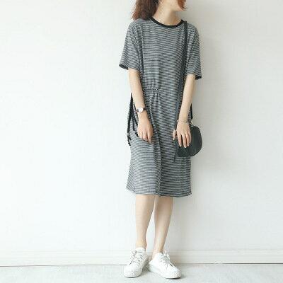 韓系日系女裝條紋抽繩收腰一步裙連身裙樂天時尚館。預購。[全店免運]